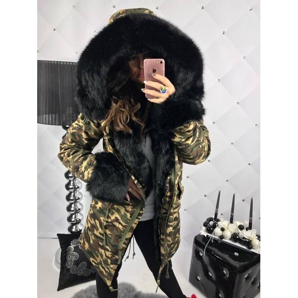 Luxusní black army parka s černou kožešinou