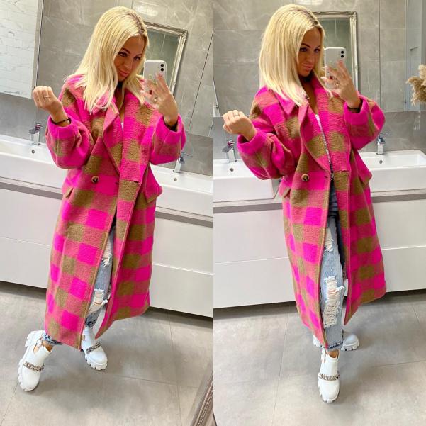 Luxusní kabát růžový