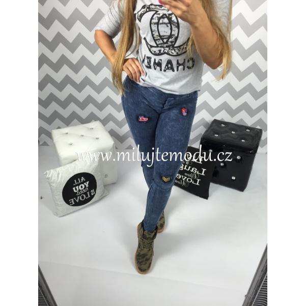 Jeans legíny s nášivkama