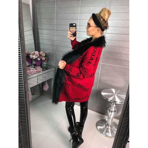Svetříkokabátek JADORE - červený s bohatým kožíškem