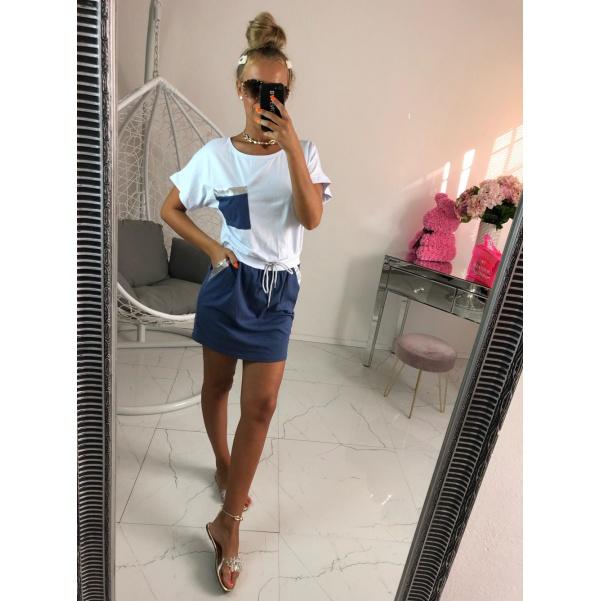 Šaty s kapsičkou modré