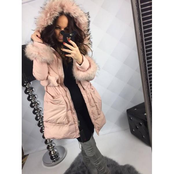 Péřová zimní bunda s pravým kožíškem