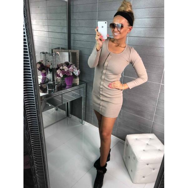 Béžové šaty s knoflíky