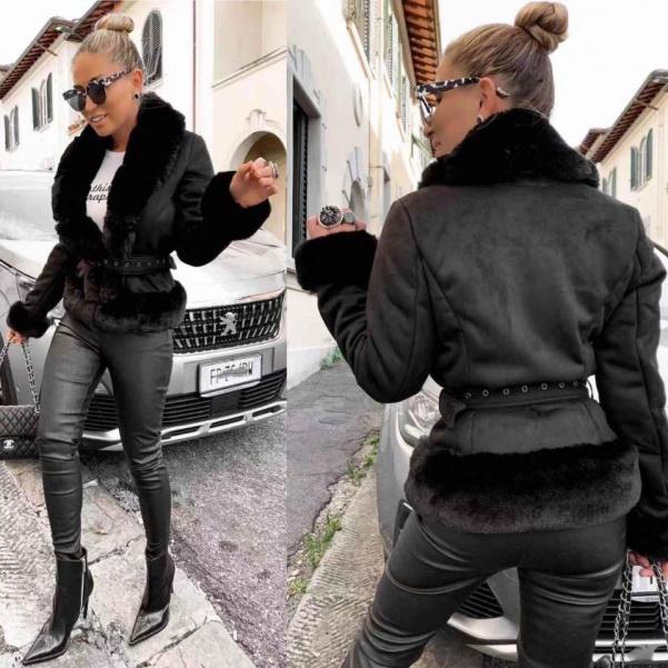 Luxusní černý kožíšek - Lila