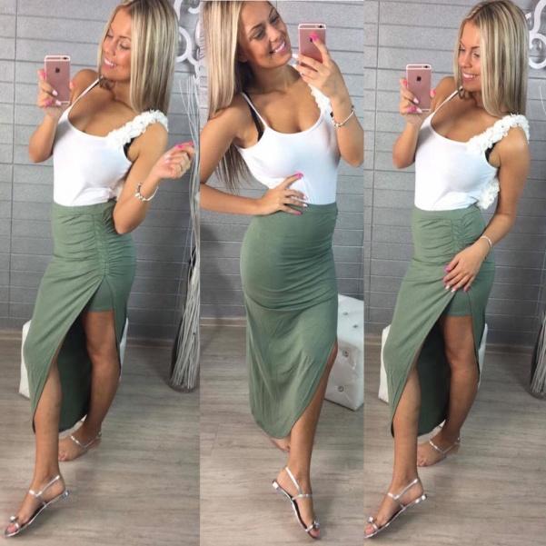 Khaki asymetrická suknička