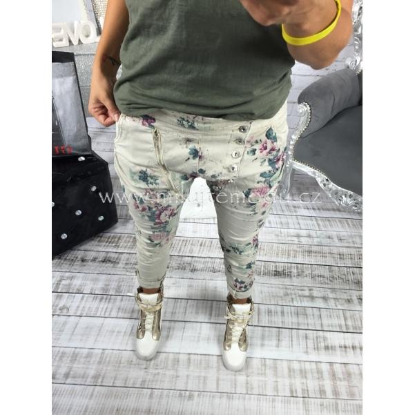 Květinové kalhoty se zipy