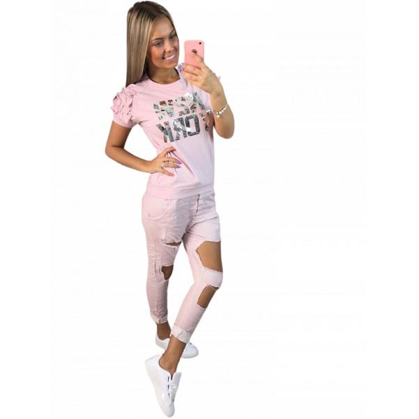 Růžové kalhoty s trhaním TOP