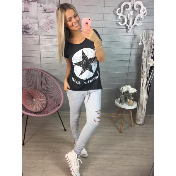 Tmavě šedé tričko STAR