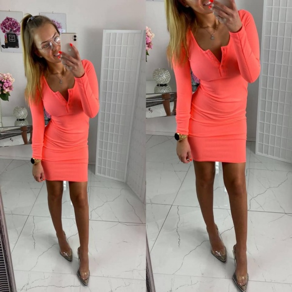 Elastické vypasované šaty - neon oranžová