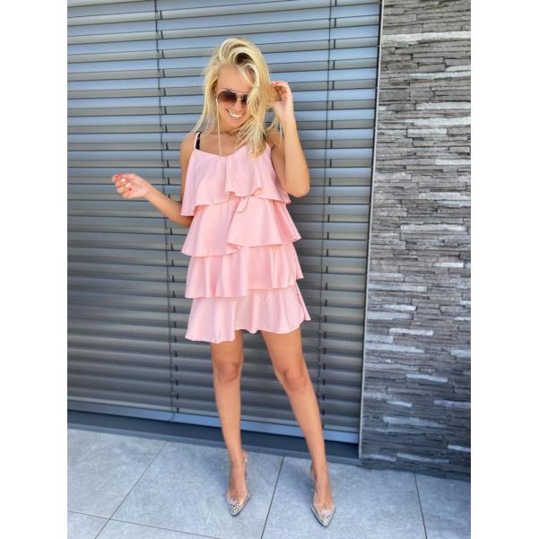 Volánkové šaty - růžové