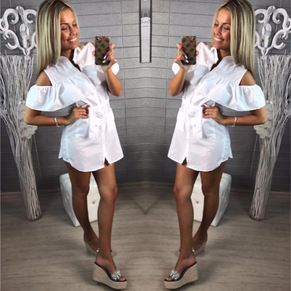 Košilové šaty s volánky bílé