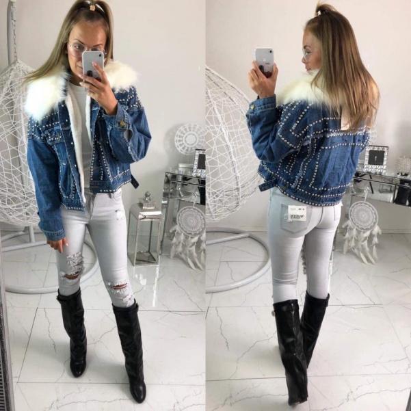 Jeans bunda se cvoky - modrá