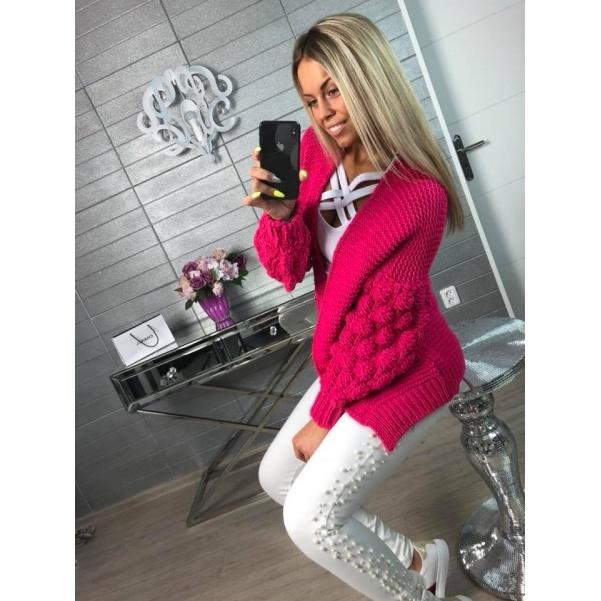 Pletený svetřík tm. růžový