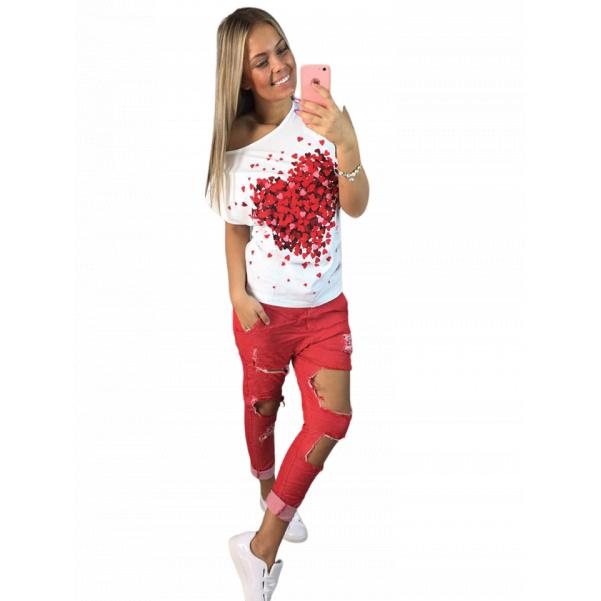 Červené trhané kalhoty TOP