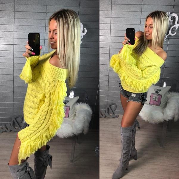 Top svetřík se střapci žlutý