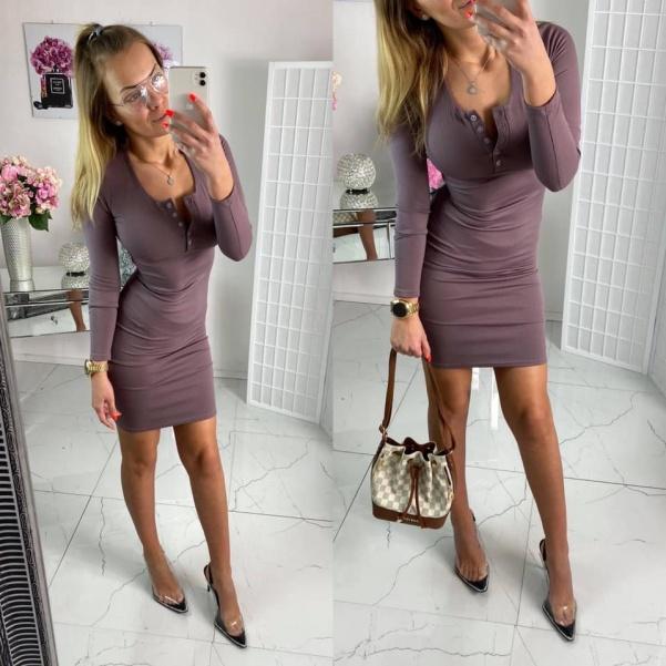 Elastické vypasované šaty - hnědo - fialová