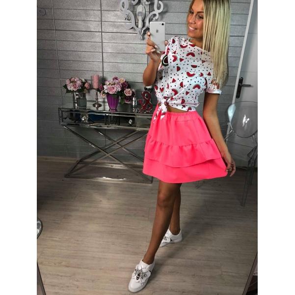 Volánová neon sukně
