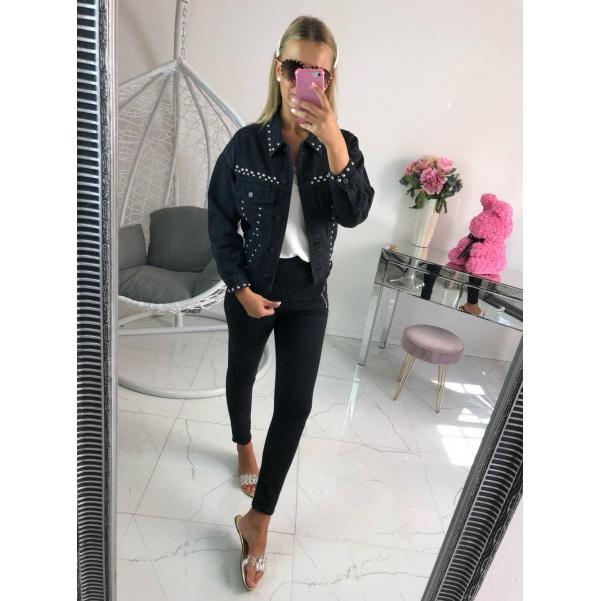 Černá jeans bundička se cvoky