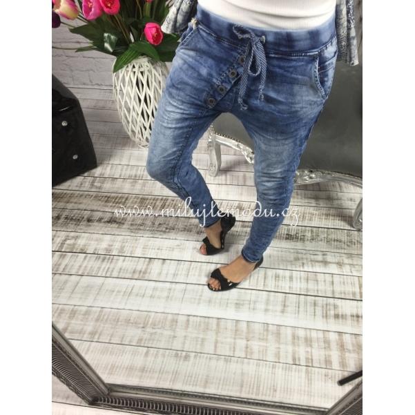 Riflové elastické kalhoty s knoflíky