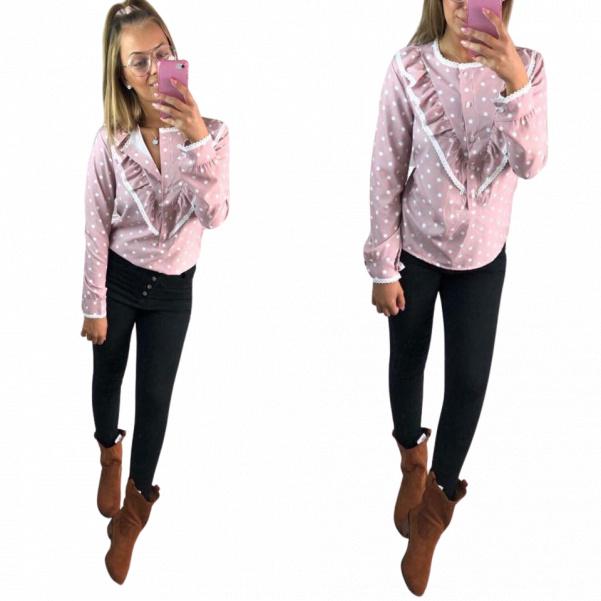 Košile s puntíky růžová