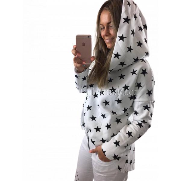 Bílá mikina s hvězdami