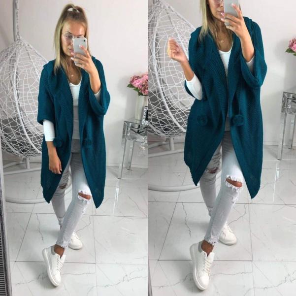 Kabátko svetr s bambulkami -GREEN