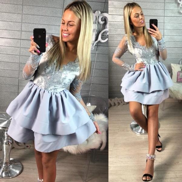 Luxusní šatičky s bohatou sukničkou a luxusní krajkou-GREY