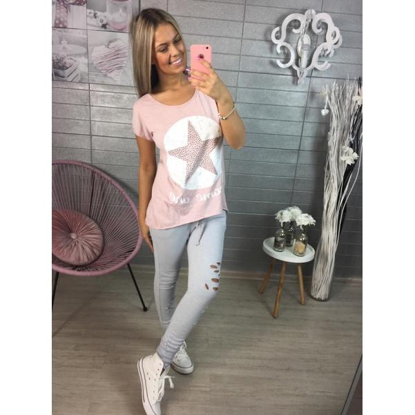 Růžové tričko STAR