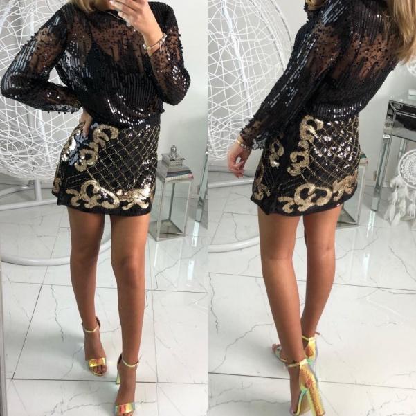 TOP flitrová sukně - černá