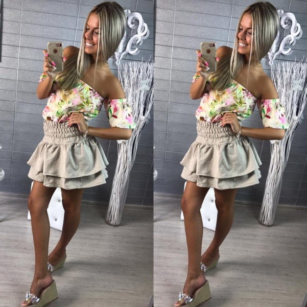 Béžová volánková bohatá suknička