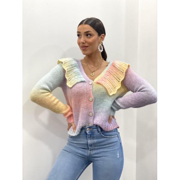 Důhový svetr s límečkem