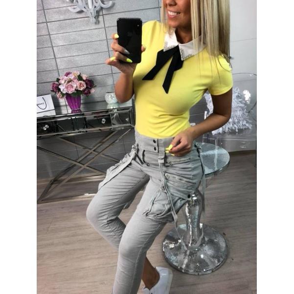 Oblíbené tričko s límečkem žluté