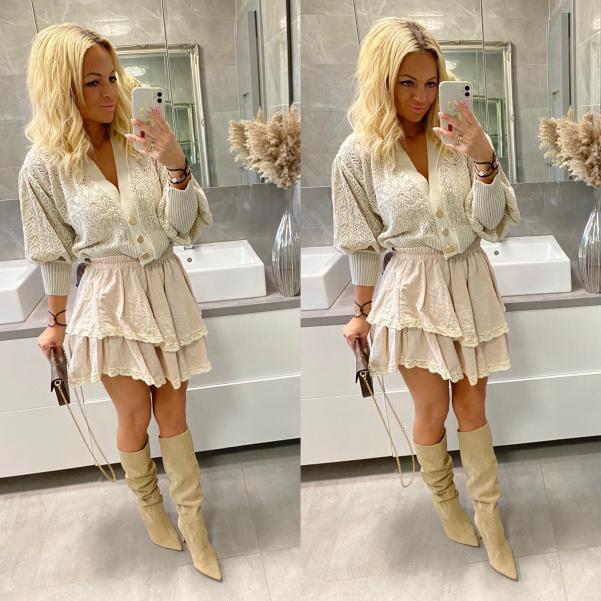 Béžová sukně s volánky