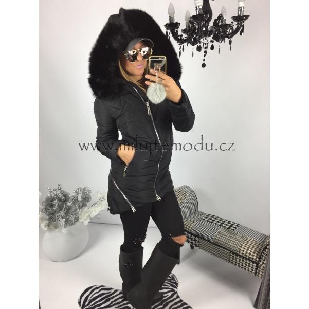 Černá zimní bunda se zipy