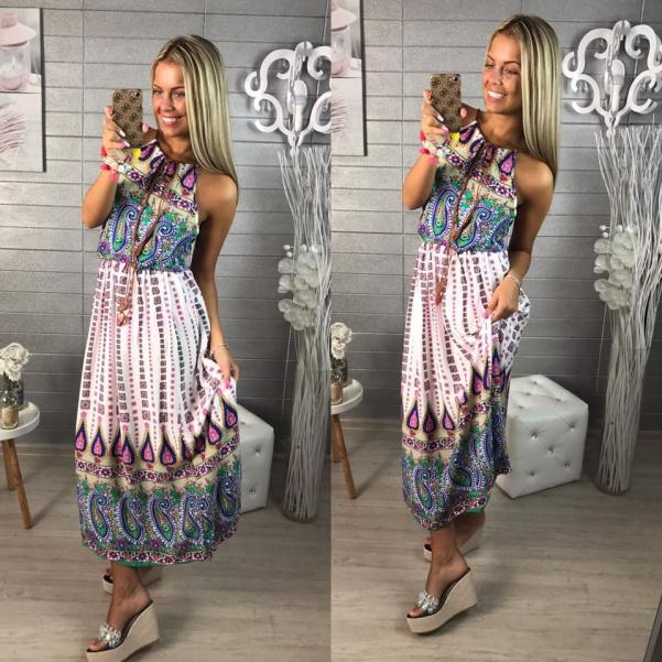 Letní vzorované dlouhé šaty