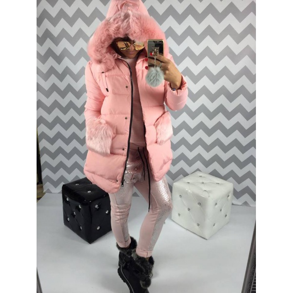 Krásna PINK bundička s kožešinkama