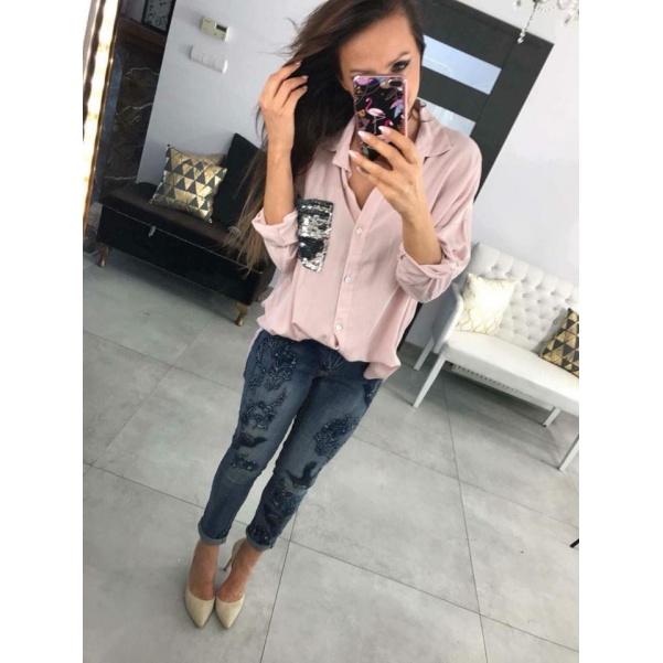 Košile s kapsou růžová