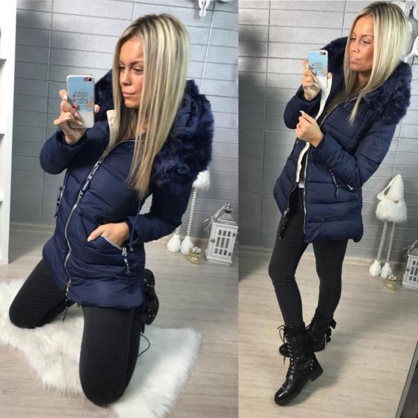 Krásná zimní bundička - BLUE s bohatým kožíškem