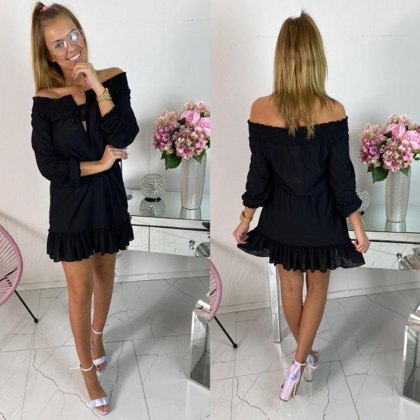 Černé šaty s vázáním