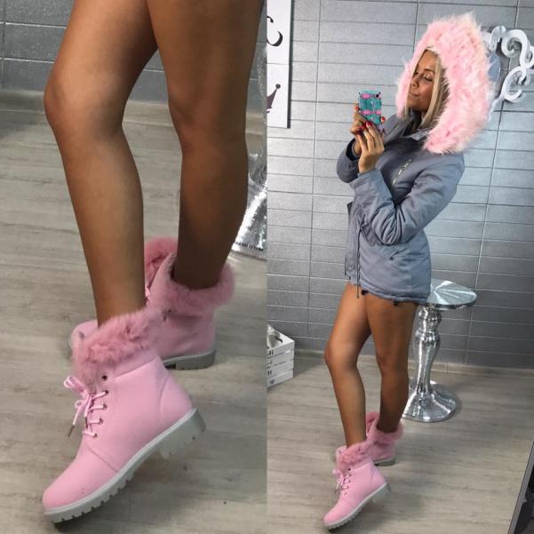 Top pink botičky s kožíškem