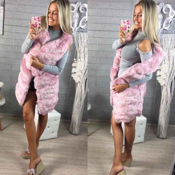 Luxusní dlouhá vestička pink