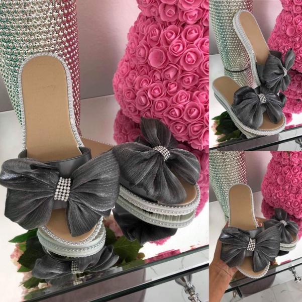 Super boty s mašlí šedé