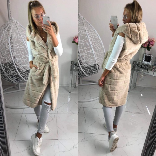Dlouhá bochánková vesta - beige