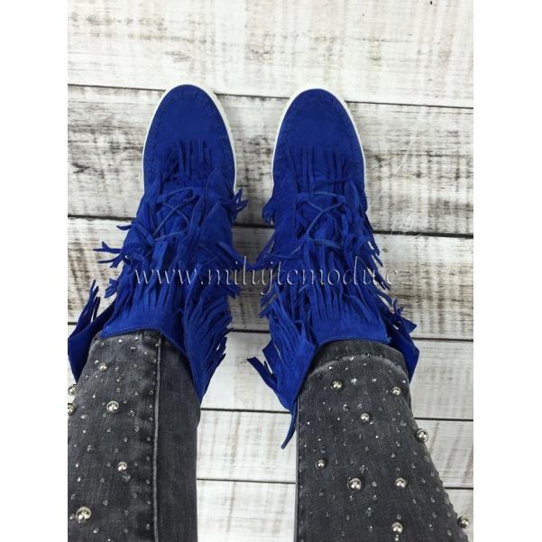 Luxusní modré boty se střapcema