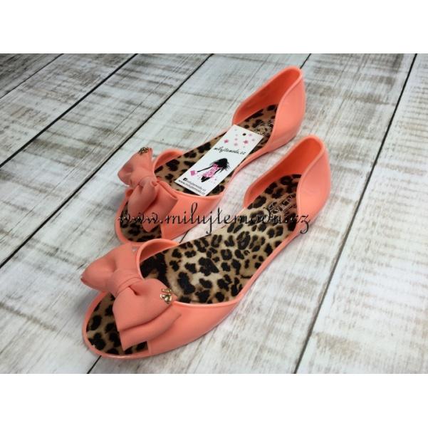 Oranžové gumové balerinky s mašli
