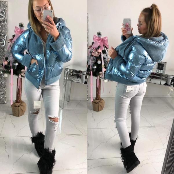 Modrá bunda s kožíšky - světlá