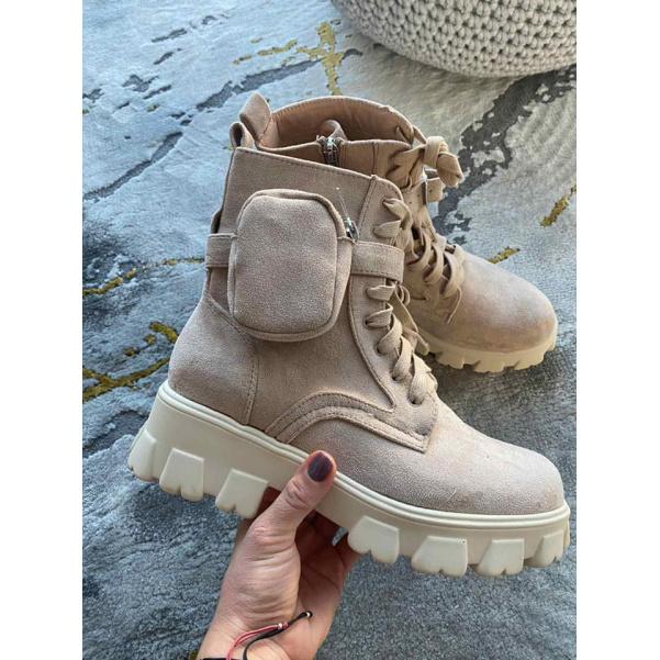 Béžové boty - LILI s kapsičkami
