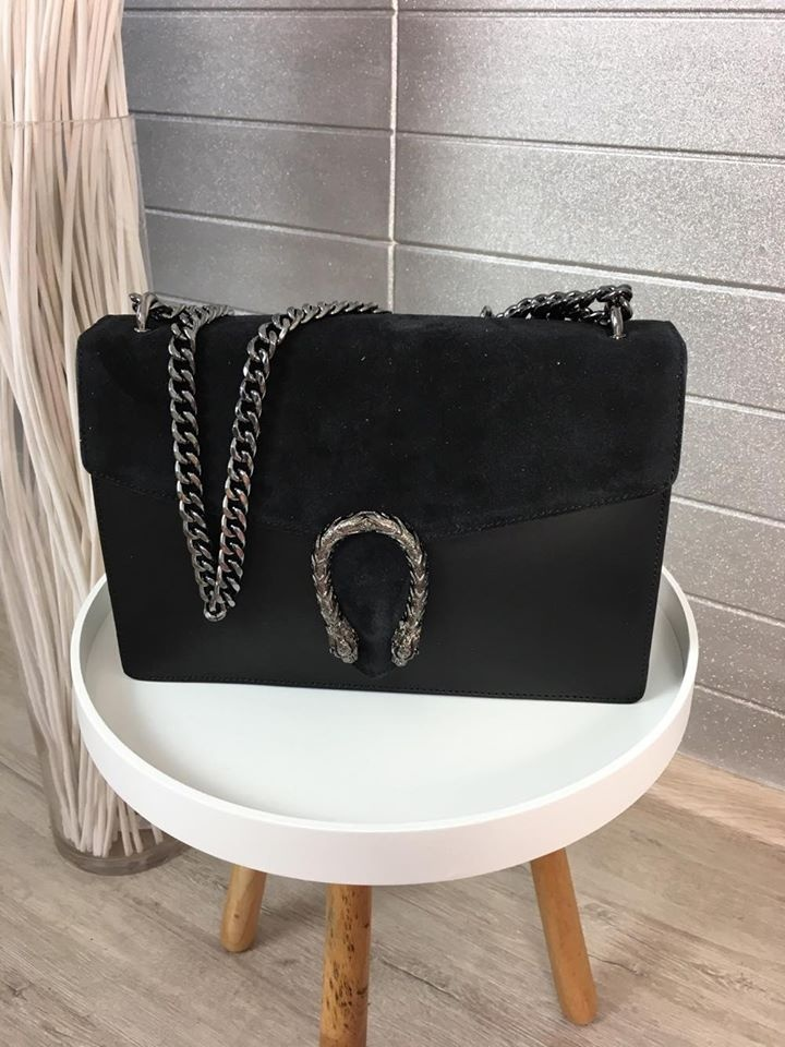 Top černá kabelka z pravé kůže