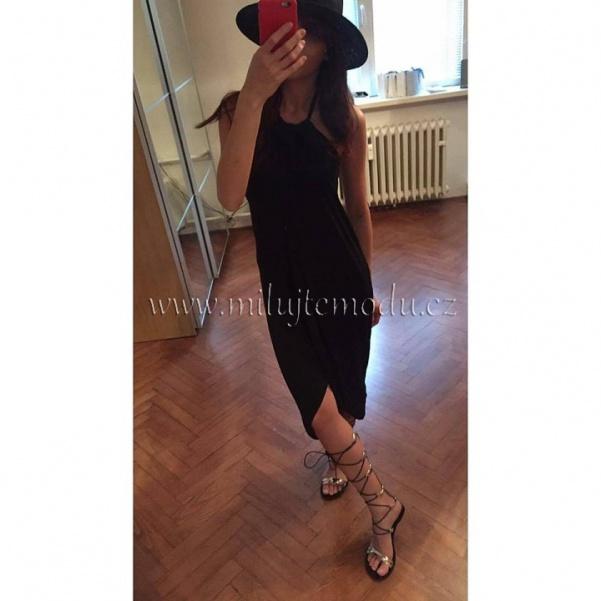 Černé pohodové šaty na vázání