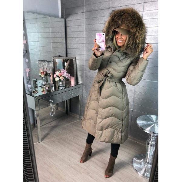 Péřový kvalitní long kabátek s pravým kožichem - capucino